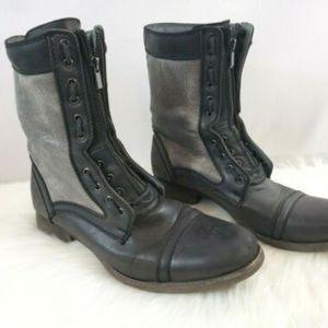 Steve Madden Archer Leather Zip Lace Combat Boots